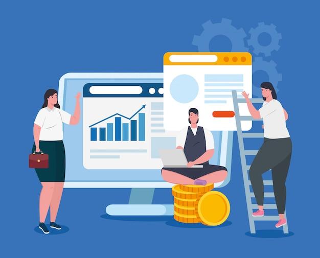 Koncepcja uruchomienia firmy, baner, proces uruchamiania obiektu biznesowego, kobiety biznesu, komputer ze stosem monet i strony internetowe