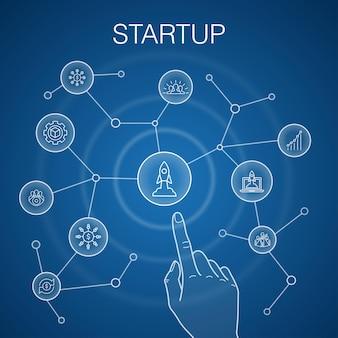 Koncepcja uruchomienia, niebieskie tło. crowdfunding, rozpoczęcie działalności, motywacja, ikony rozwoju produktu