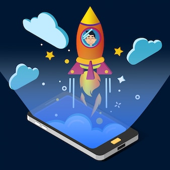 Koncepcja uruchomienia projektu biznesowego. projekt izometryczny ze smartfonem i rakietą