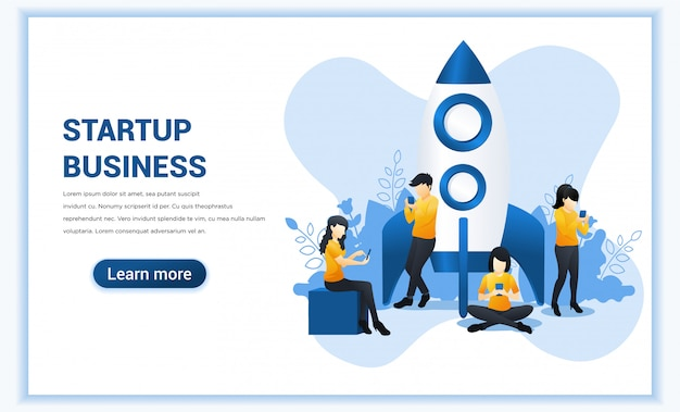 Koncepcja uruchomienia projektu dla aplikacji mobilnych i biznesu. ilustracja