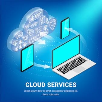Koncepcja urządzeń technologii chmury izometrycznej. świecąca chmura z ikonami wewnątrz komunikuje się ze smartfonem, tabletem, laptopem. baner wymiany danych z tekstem dla sieci, projekt graficzny. ilustracja