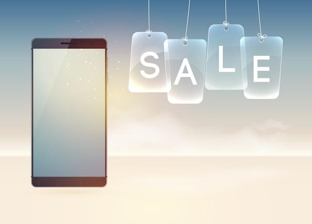Koncepcja urządzeń technologii cyfrowej z realistycznymi nowoczesnymi smartfonami na białym tle