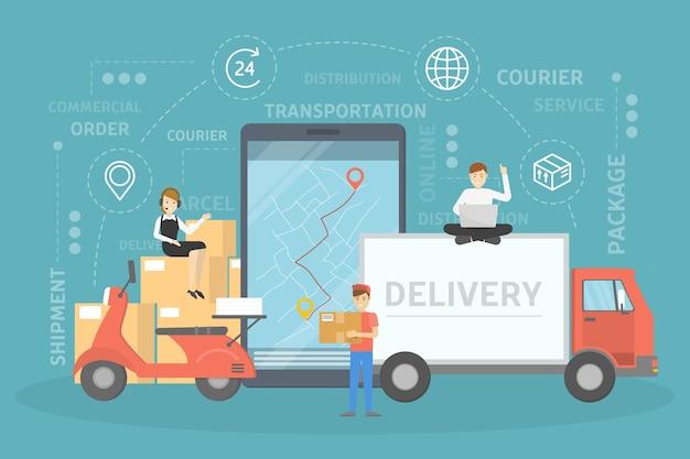 Koncepcja usług dostawy. szybko i bezpiecznie. mapa gps ze współrzędnymi miejsca docelowego. światowa sieć logistyczna. ilustracja
