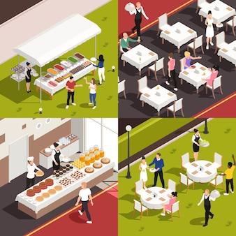 Koncepcja usług gastronomicznych 4 ilustracja izometryczna