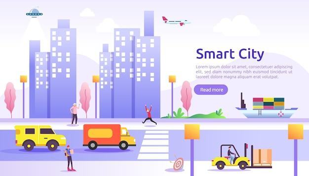 Koncepcja usług inteligentnego miasta z sieciami internetu rzeczy i rzeczywistością rozszerzoną. krajobraz miejski z budynkami, wieżowcami, transparentem ruchu transportowego