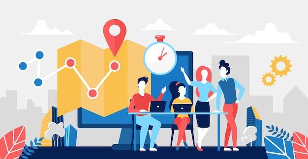 Koncepcja usług logistycznych dostawy z ludźmi logistykami