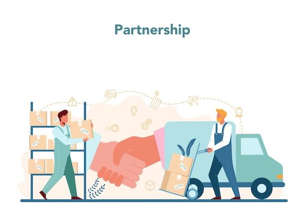 Koncepcja usług logistycznych i dostaw. idea transportu i dystrybucji.