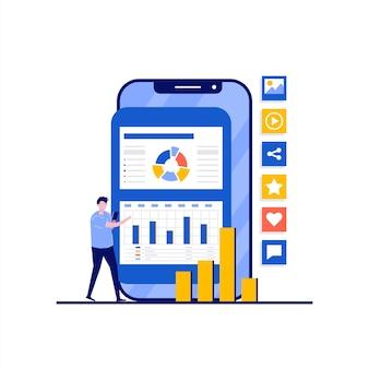 Koncepcja usług mediów społecznościowych z charakterem. ludzie stoją w pobliżu smartfonów i symboli technologii komunikacyjnych sieci społecznościowych. nowoczesny styl płaski na stronę docelową, aplikację mobilną, obrazy bohaterów.