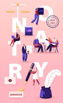 Koncepcja usług profesjonalnych notariusza. ludzie odwiedzają biuro prawnika w celu podpisywania i legalizacji dokumentów. ilustracja kreskówka