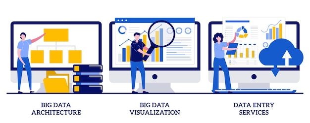 Koncepcja usług wprowadzania danych z ilustracjami małych ludzi