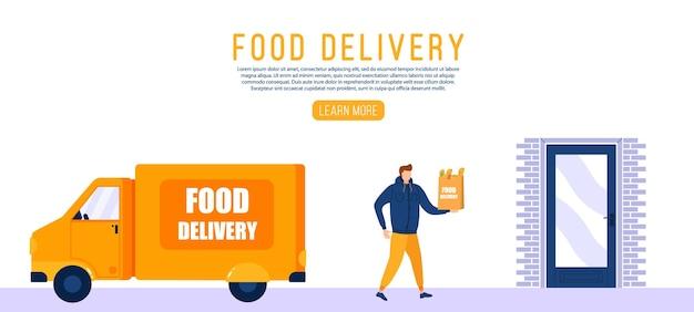 Koncepcja usług żywieniowych z dostawą online, śledzenie zamówień online