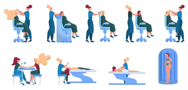 Koncepcja usługi centrum urody. osoby odwiedzające salon kosmetyczny mają różne procedury. kobieca postać w salonie. masaż, paznokcie, fryzura, kosmetyczka, solarium. zestaw ilustracji