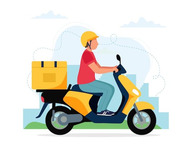 Koncepcja usługi dostarczania skuterów, męski charakter kuriera, jazda skuterem z pudełkiem dostawy.