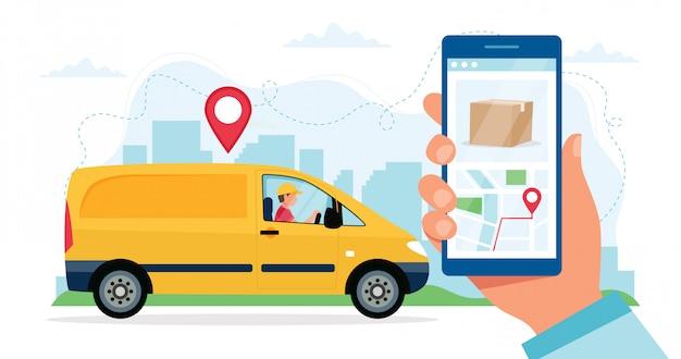 Koncepcja usługi dostawy, charakter kurier jedzie żółty samochód dostawczy