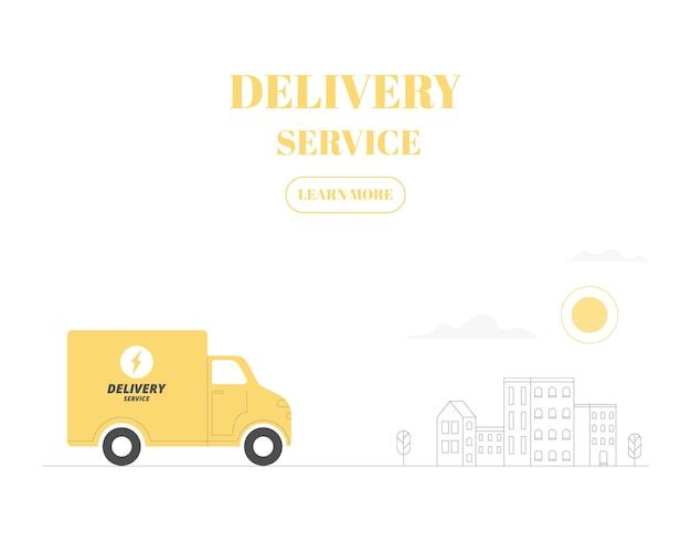 Koncepcja usługi dostawy. doręczeniowa ciężarówka na miasta tle. ilustracja.