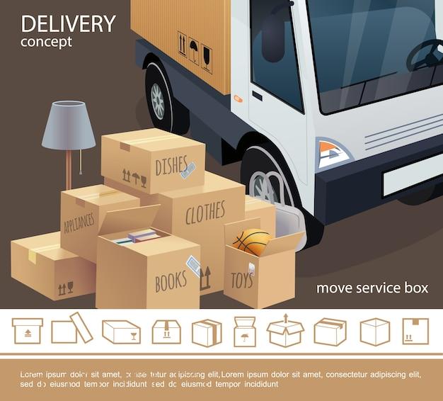 Koncepcja usługi dostawy kolorowe