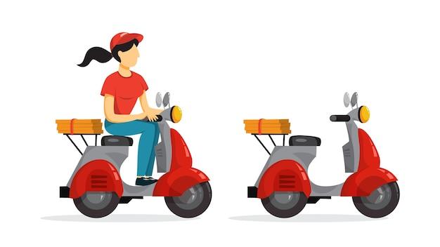 Koncepcja usługi dostawy. kurier z pizzą na motorowerze