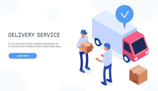 Koncepcja usługi dostawy. listonosz przekazuje pudełko klientowi płci męskiej. samochód dostawczy