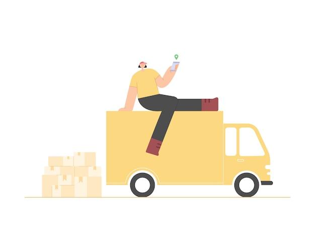 Koncepcja usługi dostawy online. człowiek dostawy ze smartfonem i dostawą ciężarówek. śledzenie zamówień online. logistyka i dostawa. ilustracja.