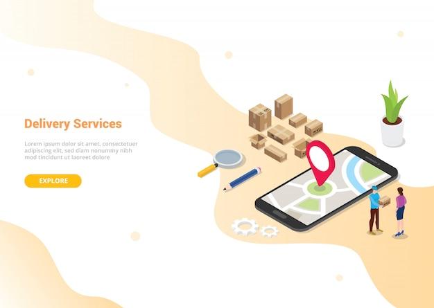 Koncepcja usługi dostawy online dla strony docelowej szablonu projektu strony internetowej
