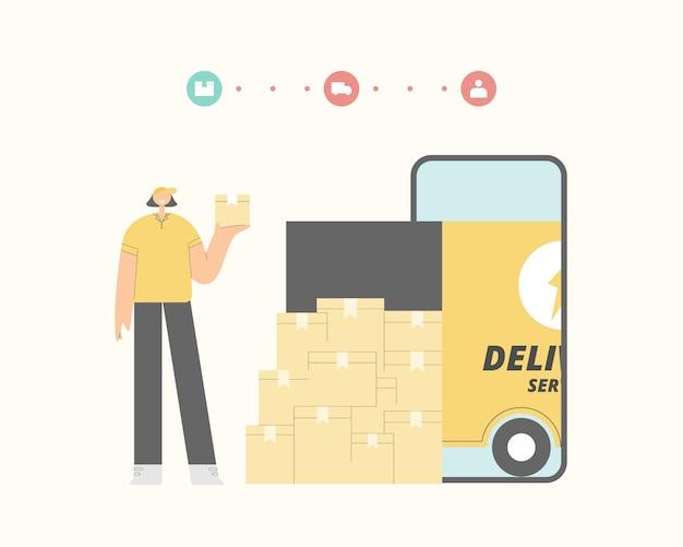 Koncepcja usługi dostawy online. doręczeniowego mężczyzna i ładunku ciężarówki dostawy ilustracja.