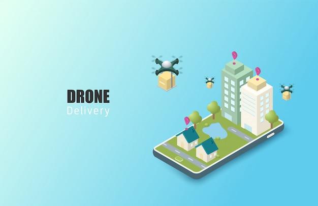 Koncepcja usługi dostawy online. izometryczny. mobilne śledzenie zamówień. drony dostarczające do miejsca przeznaczenia. logistyka miejska online. dostawa na smartfona.