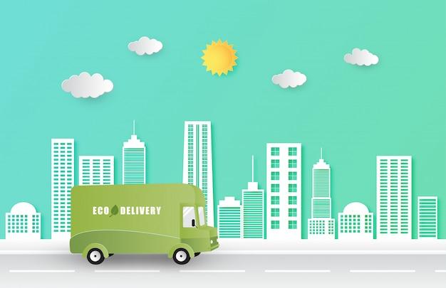 Koncepcja usługi dostawy online. mobilne śledzenie zamówień. dostawa eco van do miejsca przeznaczenia. logistyka miejska online. dostawa na smartfona.