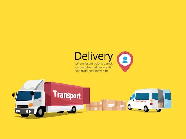 Koncepcja usługi dostawy, paczka z transportem ciężarówek i furgonetek