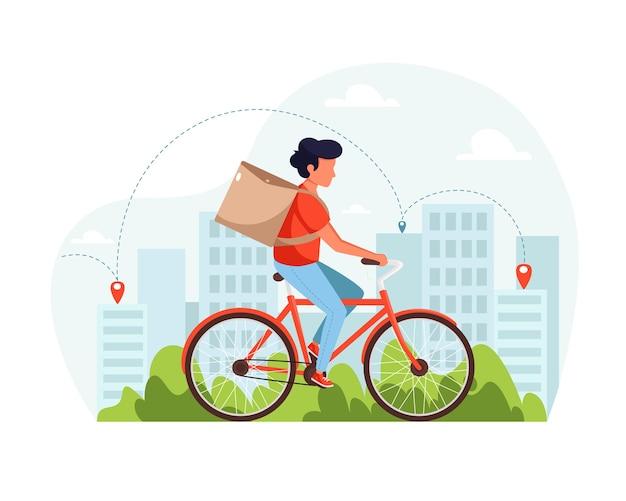 Koncepcja usługi dostawy rowerów. kurier na rowerze z dostawą. w stylu płaskiej.