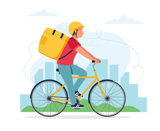 Koncepcja usługi dostawy rowerów, mężczyzna kurier charakter jazda rowerem z pola dostawy.