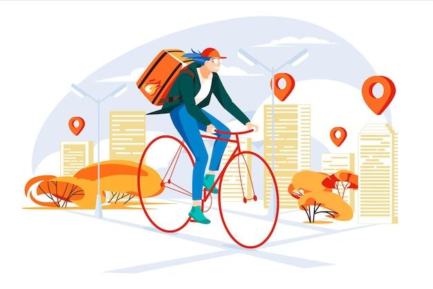 Koncepcja usługi dostawy rowerzystów w mieście kurierka młodych ludzi wykonujących pracę szybko mapa miasta w