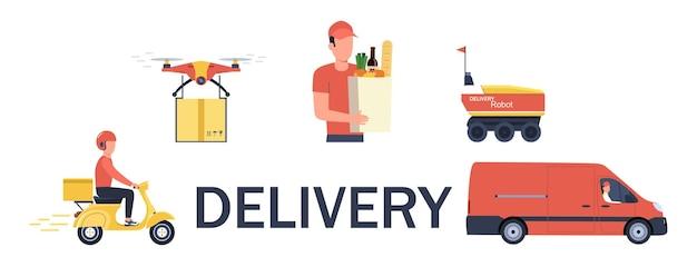 Koncepcja usługi dostawy z różnymi pojazdami, ludźmi i dronami. ilustracja wektorowa.