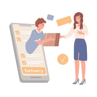 Koncepcja usługi dostawy. zamawiaj jedzenie lub towary online za pomocą smartfona. mężczyzna daje pudełko klientowi. ilustracji wektorowych