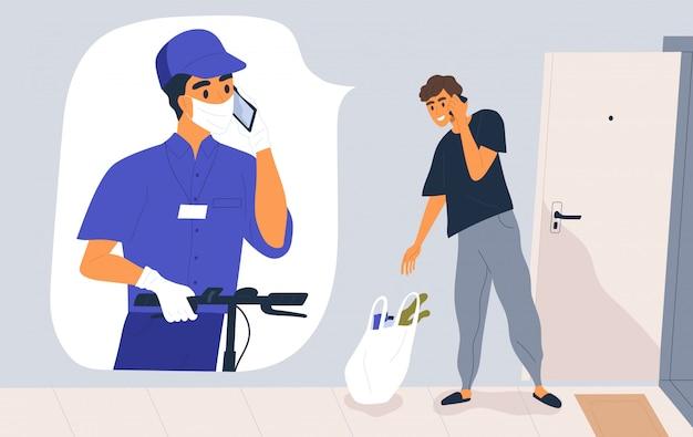 Koncepcja usługi dostawy zbliżeniowej. kurier w masce medycznej i rękawiczkach dzwoni do klienta. mężczyzna otrzymywa sklep spożywczy torbę podczas pandemii. bezpieczna wysyłka ilustracja w stylu cartoon płaski