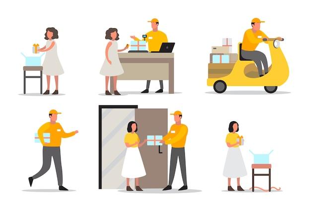 Koncepcja usługi dostawy. zestaw dostawy człowieka. odbiór kuriera