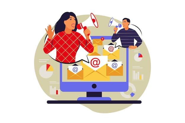 Koncepcja usługi e-mail. marketing e-mailowy. ilustracja wektorowa. mieszkanie.