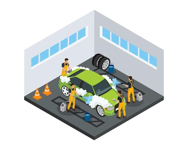 Koncepcja usługi izometrycznej myjni z pracownikami myjącymi samochód za pomocą gąbek i specjalnych narzędzi w garażu na białym tle