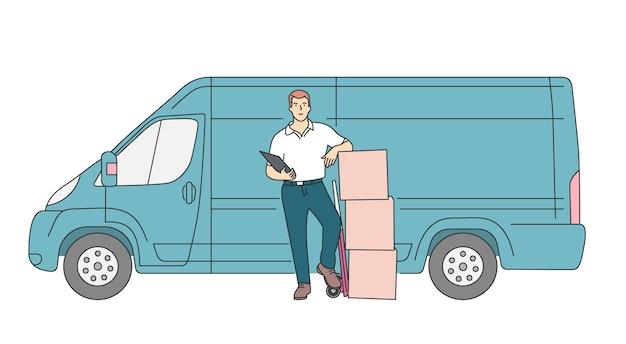 Koncepcja usługi kurierskiej dostawy dostawa kurier człowiek posiadający pakiet z dostawcą ciężarówki