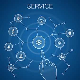 Koncepcja usługi, niebieskie tło. rozwiązanie, pomoc, jakość, ikony wsparcia
