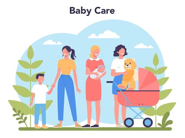 Koncepcja usługi opiekunki do dziecka lub agencji niania. opiekunka do dziecka w domu. kobieta dba o dziecko, bawi się z dzieckiem.