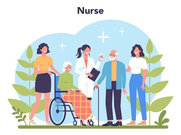 Koncepcja usługi pielęgniarki. zawód medyczny, personel szpitala i przychodni. profesjonalna pomoc dla starszej cierpliwości.
