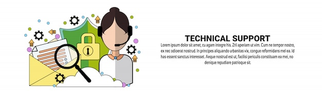 Koncepcja usługi pomocy technicznej szablon poziomego banera internetowego