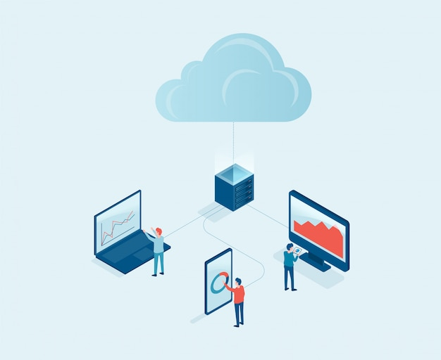 Koncepcja usługi serwera przetwarzania w chmurze technologii biznesowych z koncepcją pracy zespołu programistów. projekt izometryczny.