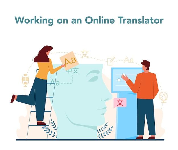Koncepcja usługi tłumacza i tłumaczenia.