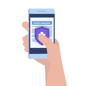 Koncepcja usługi ubezpieczenia zdrowotnego. smartphone z formularzem dokumentu medycznego.
