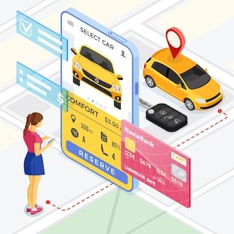 Koncepcja usługi udostępniania samochodów. kobieta online wybiera samochód do carsharingu. wynajem samochodów, carpooling, wspólne wycieczki po mieście za pośrednictwem aplikacji mobilnej. izometryczny