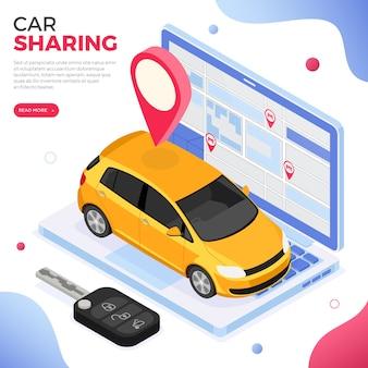 Koncepcja usługi udostępniania samochodów. online wybierz samochód do carsharingu. wynajem samochodów, carpooling, wspólne wycieczki po mieście za pośrednictwem aplikacji mobilnej. izometryczny na białym tle