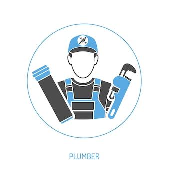 Koncepcja usługi wodno-kanalizacyjnej z hydraulik i ikona klucza do rur. ilustracja na białym tle wektor.