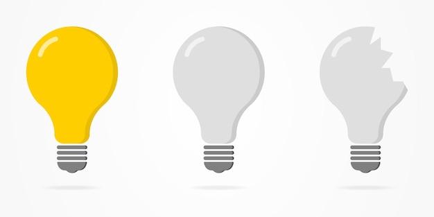 Koncepcja uszkodzonej lampy zniszczenie żółtej żarówki cała żarówka wyłączona zepsuta żarówka wektor