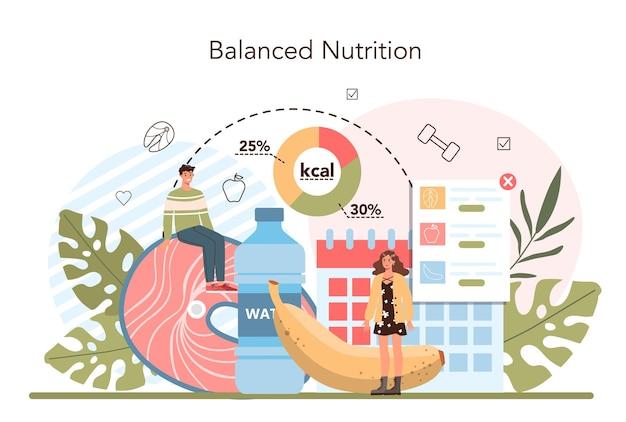 Koncepcja utraty wagi fitness i zdrowej diety osoby z nadwagą